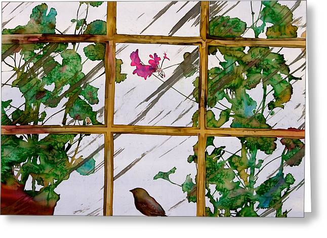 Plant Tapestries - Textiles Greeting Cards - Bird with a view Greeting Card by Carolyn Doe