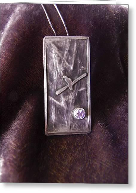 Birds Jewelry Greeting Cards - Bird with Stone Greeting Card by Patricia  Tierney