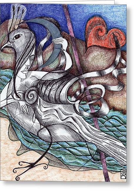 Helix Drawings Greeting Cards - Bird Woman Greeting Card by Intuitive Art