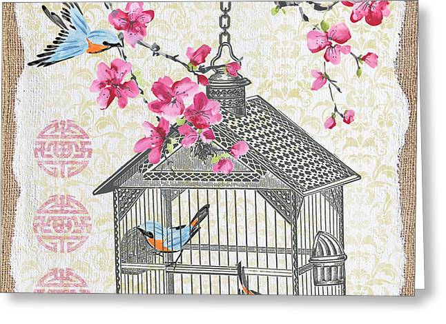 Sparrow Mixed Media Greeting Cards - Birdcage with Cherry Blossoms-JP2611 Greeting Card by Jean Plout