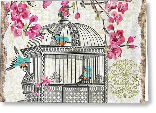 Sparrow Mixed Media Greeting Cards - Birdcage with Cherry Blossoms-JP2612 Greeting Card by Jean Plout