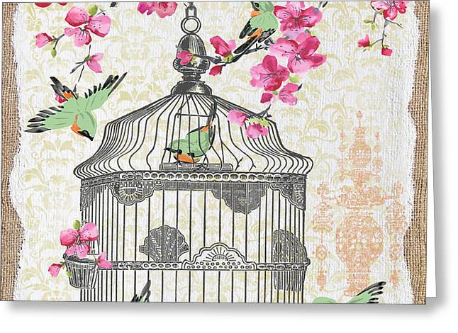 Pink Flower Prints Mixed Media Greeting Cards - Birdcage with Cherry Blossoms-JP2613 Greeting Card by Jean Plout