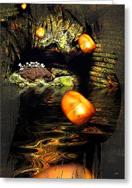 Cavern Mixed Media Greeting Cards - Birdcave Greeting Card by Carl Rolfe