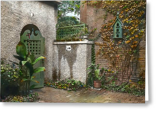 Kinkade Greeting Cards - Birdhouse and Gate Greeting Card by Terry Reynoldson