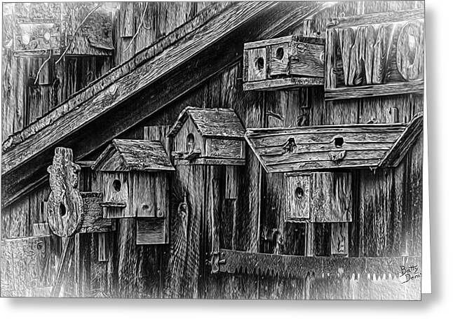 Saw Greeting Cards - Birdhouse Collection Greeting Card by Betty Denise