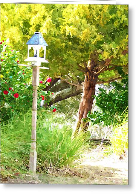 Forest Greeting Cards - Birdhouse in garden 6 Greeting Card by Lanjee Chee