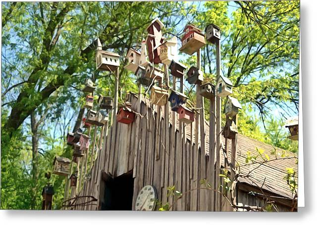Lawn Chair Greeting Cards - Birdhouse Greeting Card by Lanjee Chee