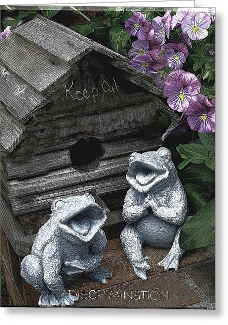 Discrimination Greeting Cards - Birdhouse with Frogs Greeting Card by Bonnie Willis