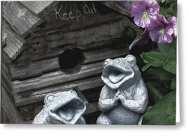 Birdhouse with Frogs Greeting Card by Bonnie Willis