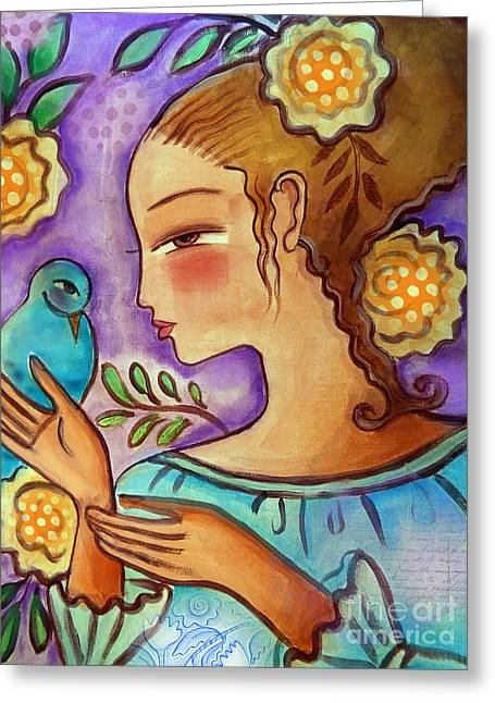 Pensive Mixed Media Greeting Cards - Birdie Greeting Card by Elaine Jackson