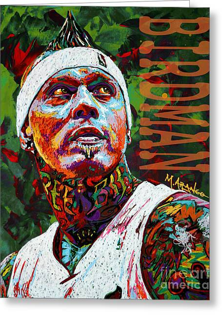 Denver Nuggets Greeting Cards - Birdman Andersen Greeting Card by Maria Arango