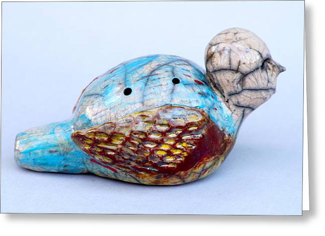 Red Clay Ceramics Greeting Cards - Birdman Whistle Greeting Card by Chip Vander Wier