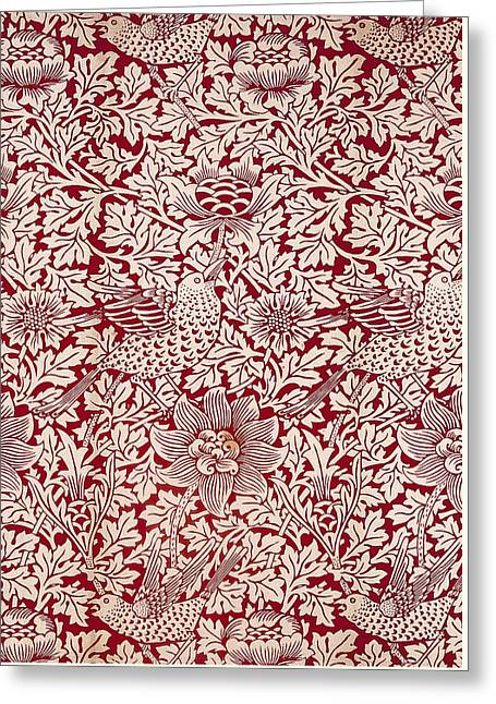 Orange Tapestries - Textiles Greeting Cards - Birds and Anenomes Pattern Greeting Card by William Morris