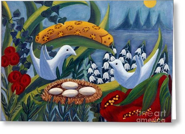 Valley Of The Moon Paintings Greeting Cards - Birds and Caterpillar Greeting Card by Barbara Sala