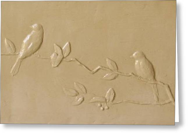 Summer Landscape Reliefs Greeting Cards - Birds and Cherries Greeting Card by Deborah Dendler