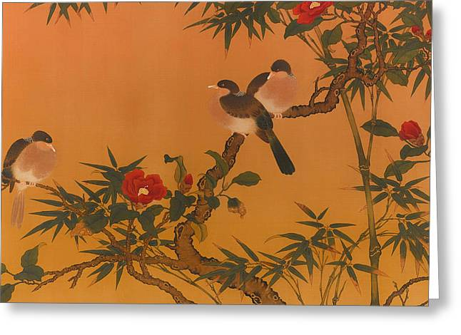 Vintage China Greeting Cards - Birds Bamboo and Camelias Greeting Card by Unknown