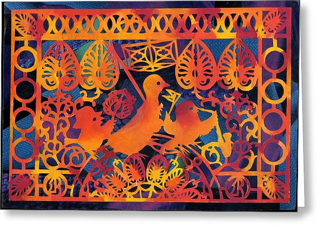 Purim Greeting Cards - Birds carnival Greeting Card by Nekoda  Singer