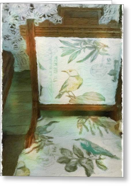 Vintage Accents Greeting Cards - Birds Chair Greeting Card by Bonnie Bruno