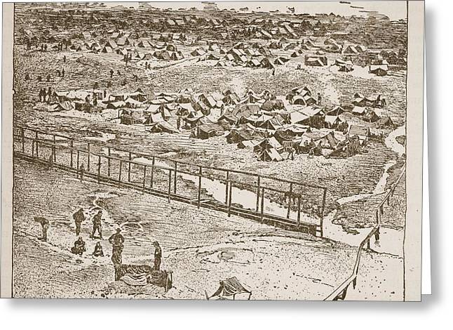 Concentration Greeting Cards - Birds-eye View Of Andersonville Prison Greeting Card by American School