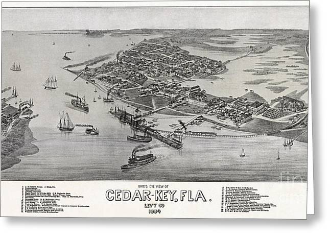 Cedar Key Greeting Cards - Birds eye view of Cedar-Key Florida Greeting Card by Celestial Images