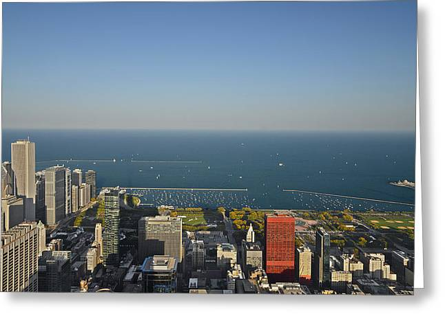 Cityscape Greeting Cards - Birds eye view of Chicagos lakefront Greeting Card by Christine Till