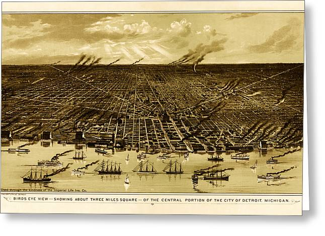 1880s Drawings Greeting Cards - Birds-Eye View of Detroit 1889 Greeting Card by Mountain Dreams