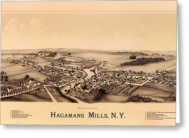 Historic Home Drawings Greeting Cards - Birds-Eye View of Hagamans Mills New York 1890 Greeting Card by Mountain Dreams