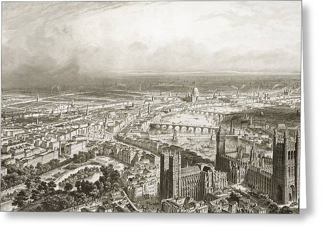 Landmark And Bridges Greeting Cards - Birds Eye View of London from Westminster Abbey Greeting Card by Nicolas Marie Joseph Chapuy