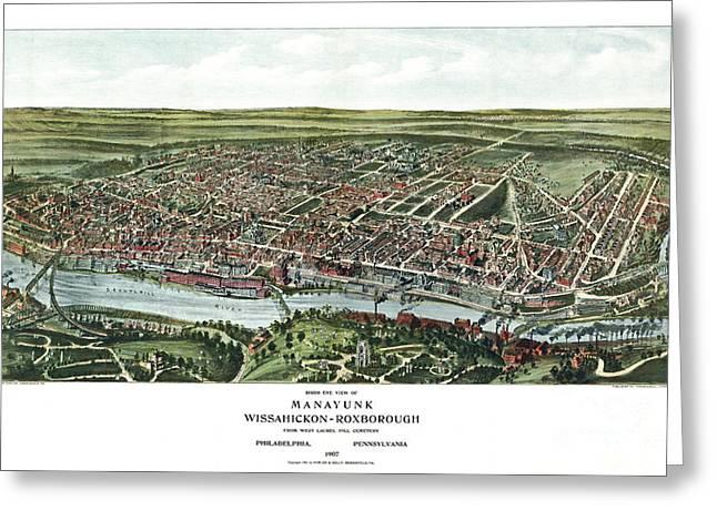 Philadelphia History Drawings Greeting Cards - Birds eye view of Manayunk - Philadelphia - Pennsylvania - 1907 Greeting Card by Pablo Romero