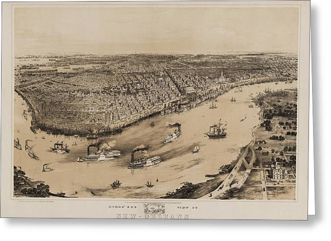 Birds Eye View Of New Orleans 1852 Greeting Card by Digital Reproductions
