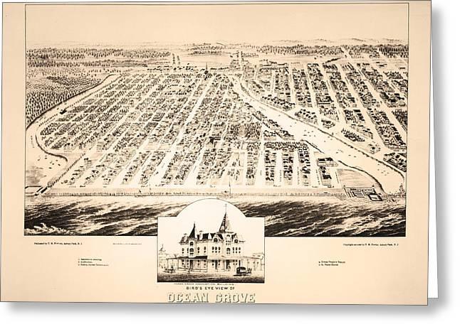 Ocean Grove Greeting Cards - Birds Eye View of Ocean Grove New Jersey 1881 Greeting Card by Digital Reproductions