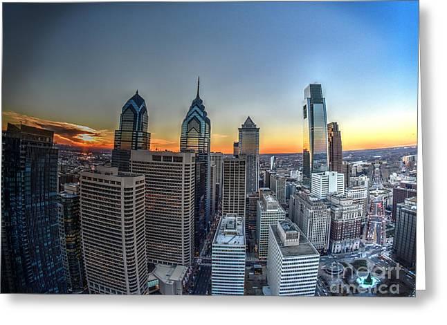 Williams Dam Greeting Cards - Birds Eye View of Philadelphia Greeting Card by Mark Ayzenberg