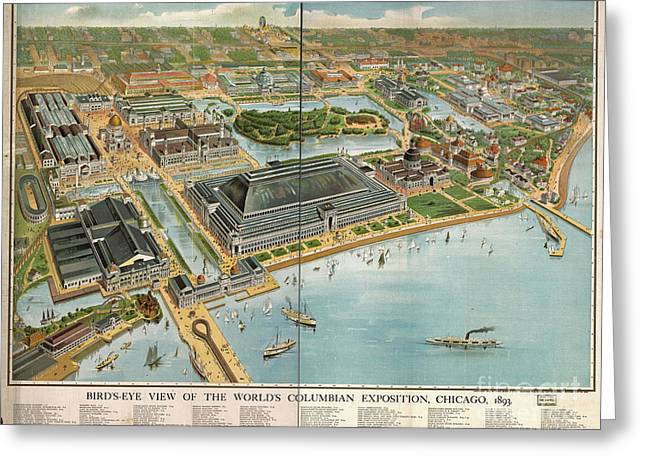 Vintage Map Photographs Greeting Cards - Birds eye view of the Worlds Columbian Exposition Chicago 1893 Greeting Card by Vintage Map