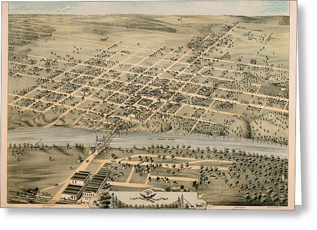 Universities Drawings Greeting Cards - Birds-Eye View of Waco Texas 1873 Greeting Card by Mountain Dreams