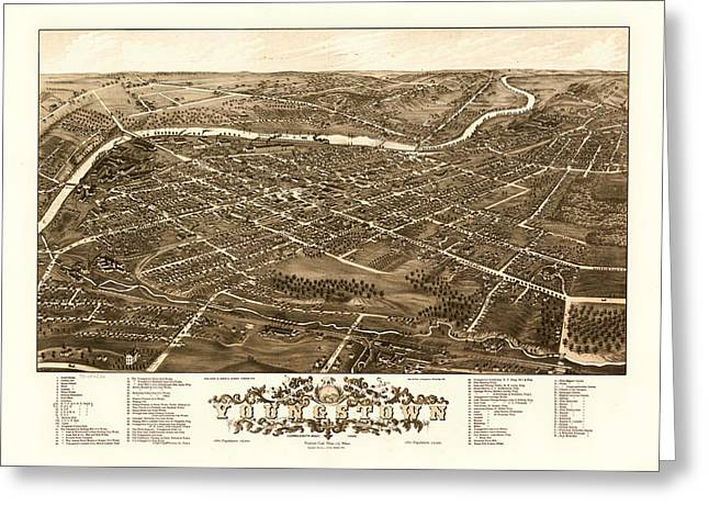 1880s Drawings Greeting Cards - Birds-Eye View of Youngstown Ohio 1882 Greeting Card by Mountain Dreams
