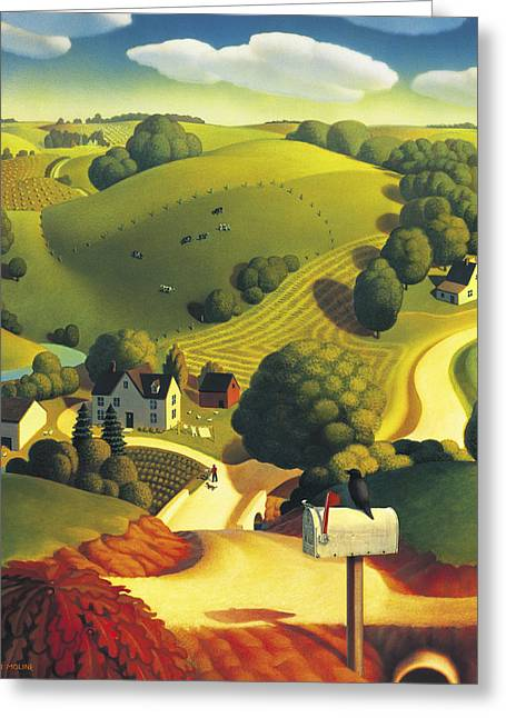 Rural Landscapes Paintings Greeting Cards - Birds Eye View Greeting Card by Robin Moline
