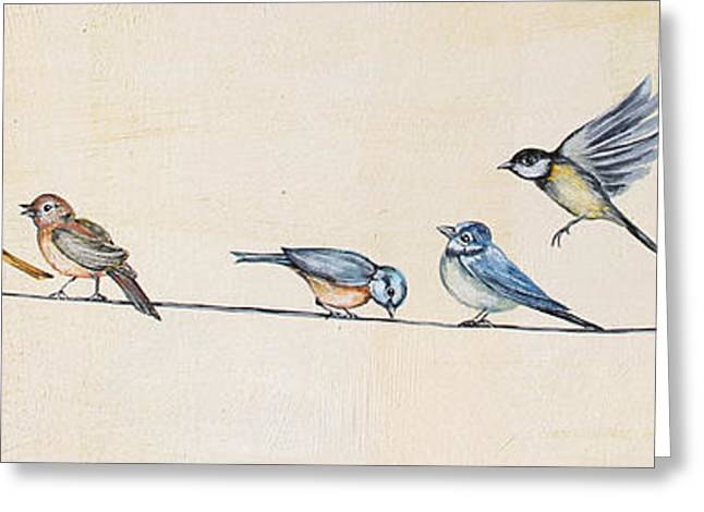 Print On Canvas Greeting Cards - Birds Gathered on Wire-A Greeting Card by Jean Plout