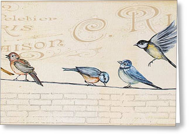 Print On Canvas Greeting Cards - Birds Gathered on Wire-B Greeting Card by Jean Plout