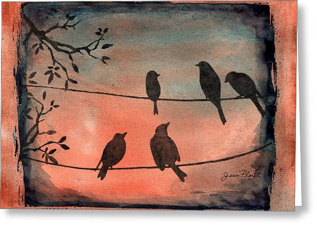 Abstract Digital Paintings Greeting Cards - Birds Gathered on Wires-6 Greeting Card by Jean Plout