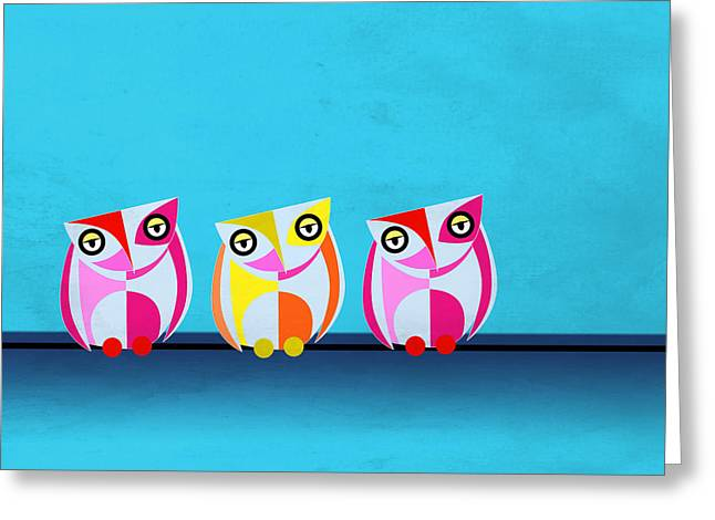 Cute Owl Greeting Cards - Birds In Blue  Greeting Card by Mark Ashkenazi