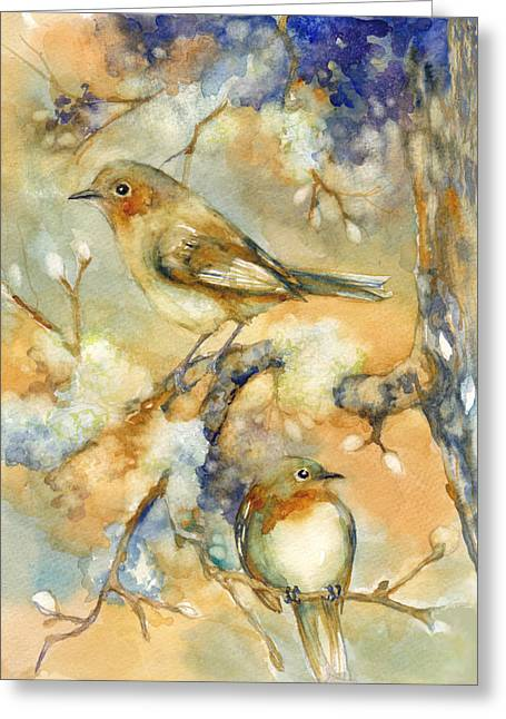 Moss Green Mixed Media Greeting Cards - Birds in Mossy Branches Greeting Card by Peggy Wilson