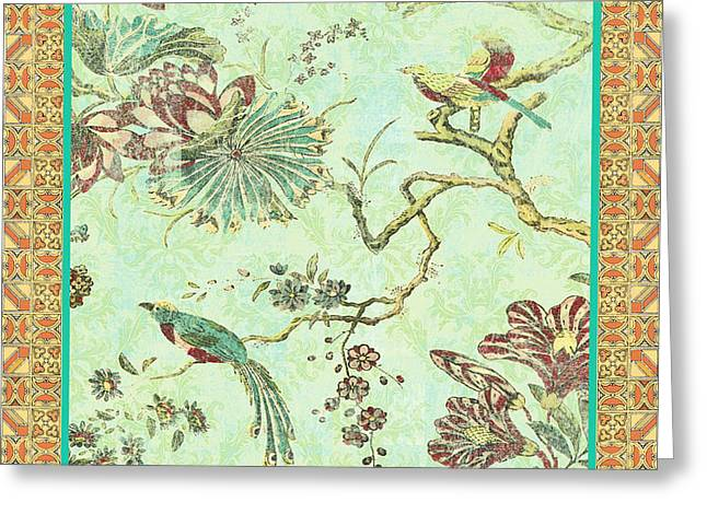 Floral Digital Art Digital Art Greeting Cards - Birds in Paradise-A Greeting Card by Jean Plout