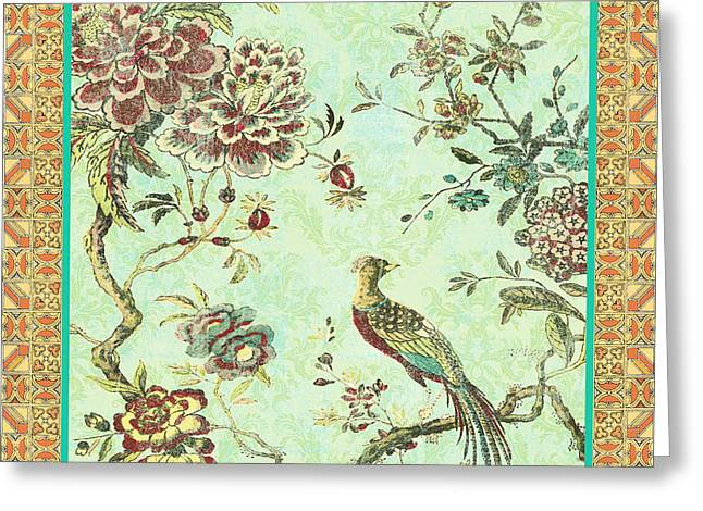 Floral Digital Art Digital Art Greeting Cards - Birds in Paradise-B Greeting Card by Jean Plout
