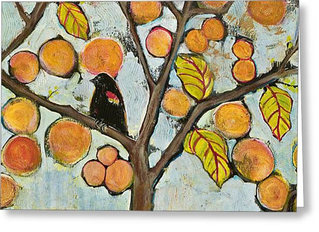 Blackbirds Greeting Cards - Birds in Paris Landscape Greeting Card by Blenda Studio