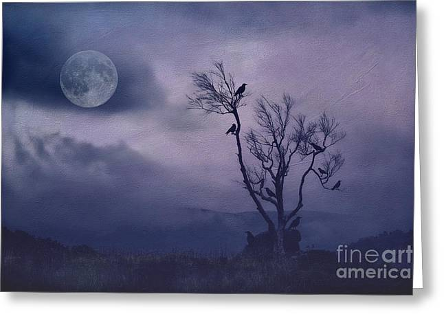 Gothic Crows Greeting Cards - Birds in the Night Greeting Card by Darren Fisher