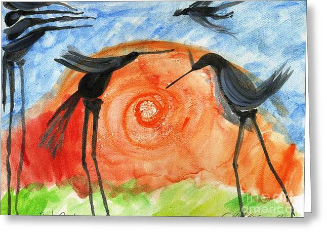 Etc. Paintings Greeting Cards - Birds in the Sun. A black bird study 2013 Greeting Card by Cathy Peterson