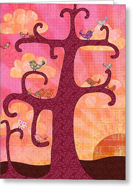 Bird In Tree Greeting Cards - Birds In Tree at Sunrise Greeting Card by Cat Whipple