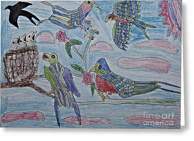 Flying Bird Pastels Greeting Cards - Birds Medley Greeting Card by Stephanie Ward