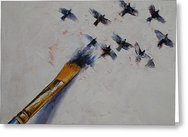 Surrealist Greeting Cards - Birds Greeting Card by Michael Creese