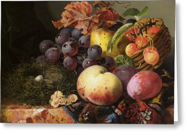 Fruit And Wine Digital Greeting Cards - Birds Nest Butterfly And Fruit Basket Greeting Card by Edward Ladell